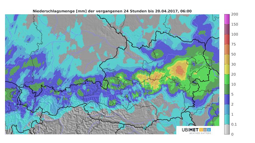 24-stündige Niederschlagssumme (19.04., 06 Uhr bis 20.04., 06 Uhr) Quelle UBIMET