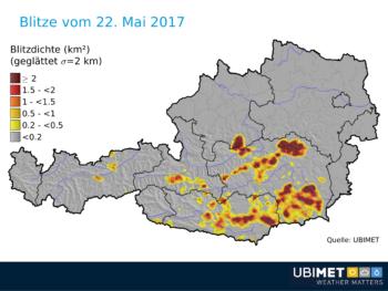 Ubimet Blitzdichte - Blitze 23.05.2017