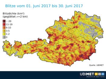 Blitzdichte in Österreich, 1.-30. Juni 2017