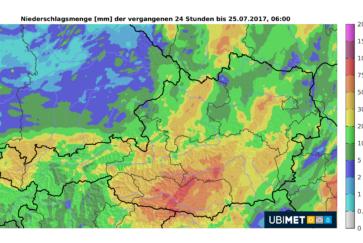 Bis zu 144 Liter pro Quadratmeter in Kärnten, neuer Regen in den Nordalpen