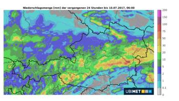 Ubimet Wetter - Niederschlagsmenge - Niederschlagssummen 24-stündig, 09. Juli, 06 Uhr bis 10. Juli, 06 Uhr