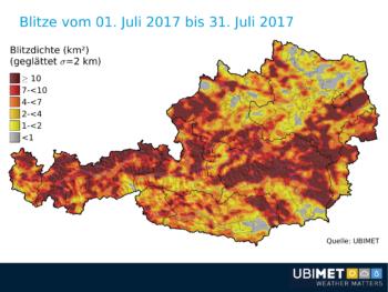 Ubimet - Blitzradar - Blitzdichte in Österreich, 1.-31. Juli 2017