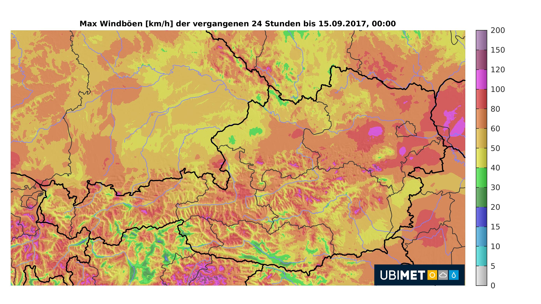 Ubimet Wetter- Windradar Windspitzen vom 14. September 2017