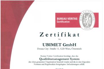 ISO 9001 UBIMET Zertifikat - UBIMET hochpräzise Wettervorhersage - globale Wetterdaten - Wetterdienst