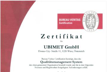 ISO 9001 UBIMET UWW Zertifikat - UBIMET hochpräzise Wettervorhersage - globale Wetterdaten - Wetterdienst