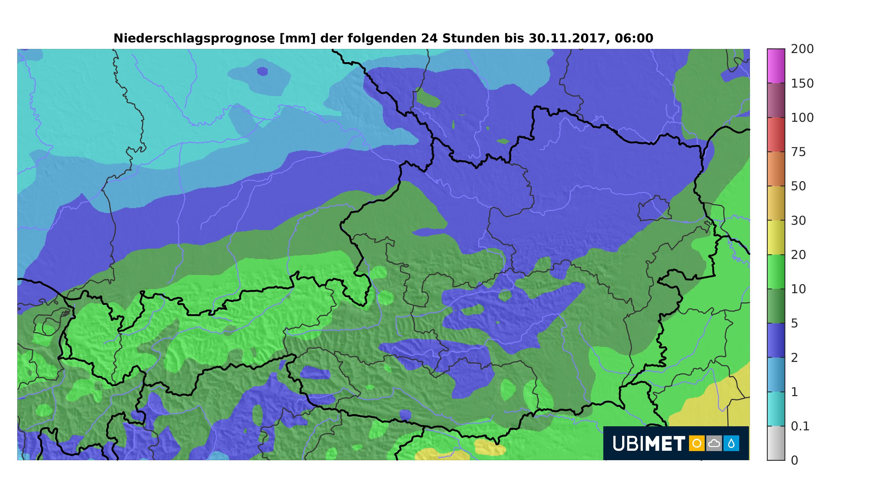 Niederschlagsprognose 24h 29-30 Nov 2017 Österreich