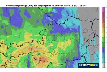 Ubimet Regen Radar - Niederschlagsmengen der vergangenen 24 Stunden bis Montag, 06 Uhr
