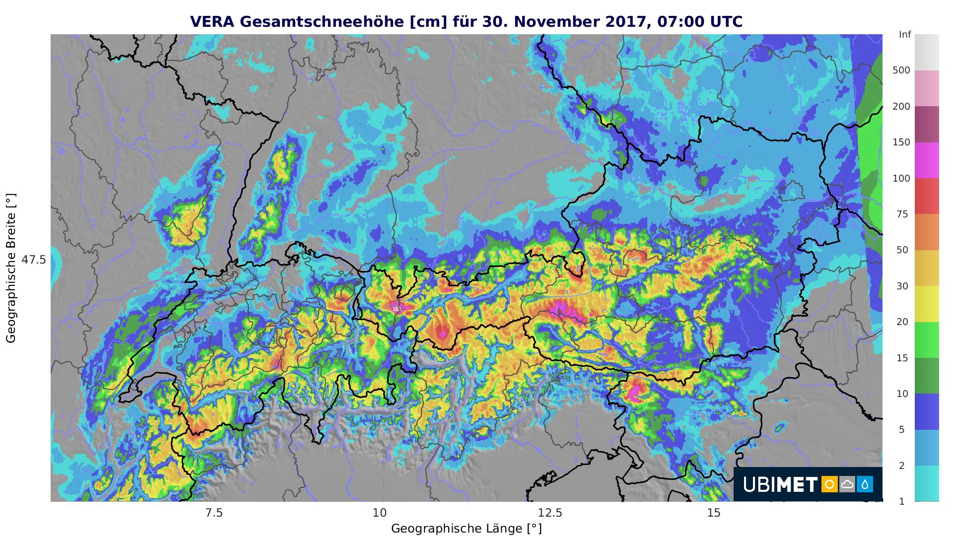 Gesamtschneehöhe für 30 November 2017 07:00 UTC