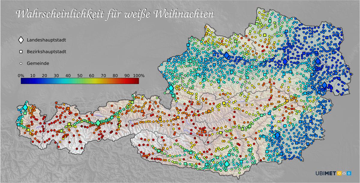 Wahrscheinlichkeit Weiße Weihnachten 2017 Österreich
