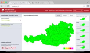 UBIMET Severe Weather Center webpage