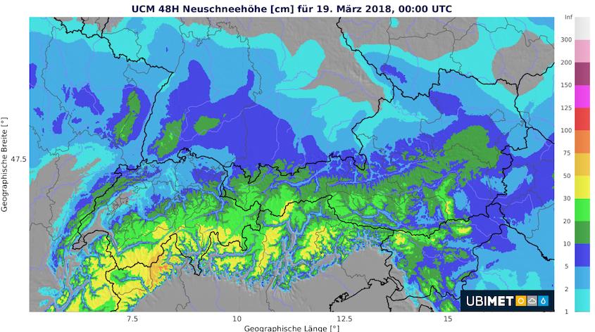 48-stündige Neuschneemenge bis Montag, 19. März 2018, 00 UTC