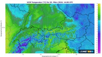Prognose der Temperatur am Freitagnachmittag