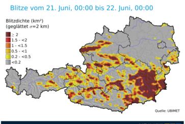 Blitze 21-22 Juni 2018 Österreich UBIMET