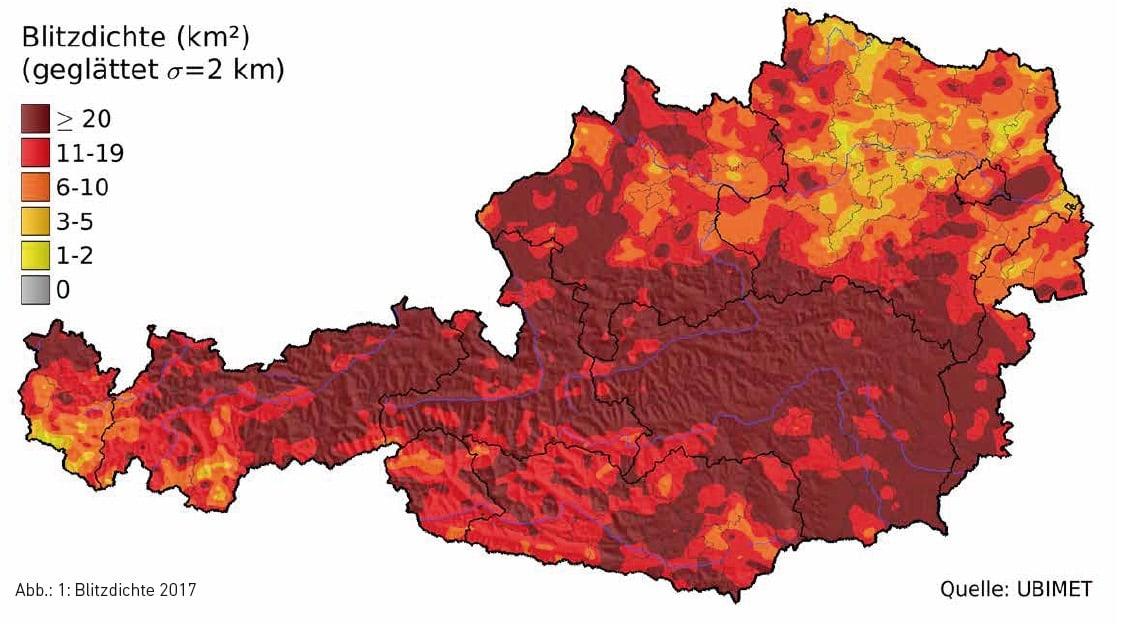 Anzahl-Blitze-pro-km2-Österreich-2017