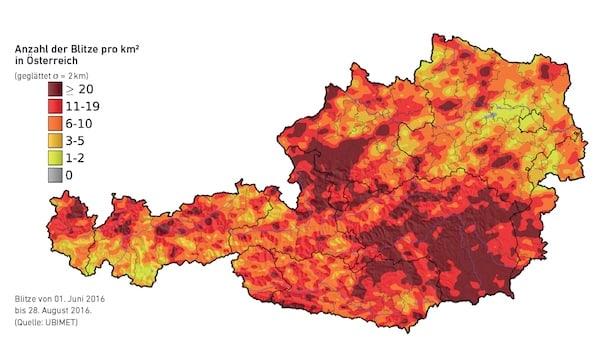 Anzahl-der-Blitze-pro-km2-in Österreich-2016