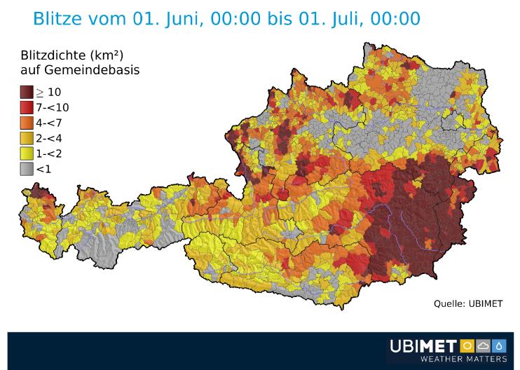 Österreich Blitzverteilung Juni 2018 Gemeindeebene