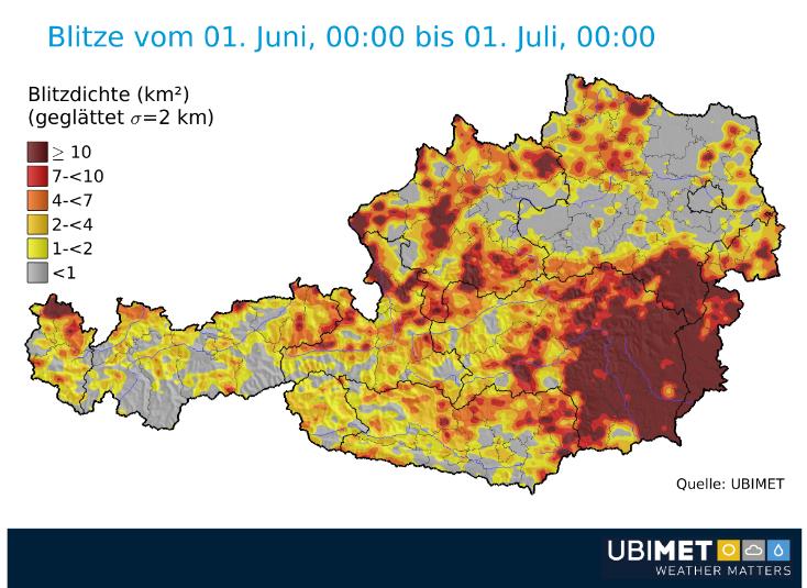 Österreich Blitzverteilung Juni 2018 geglättet