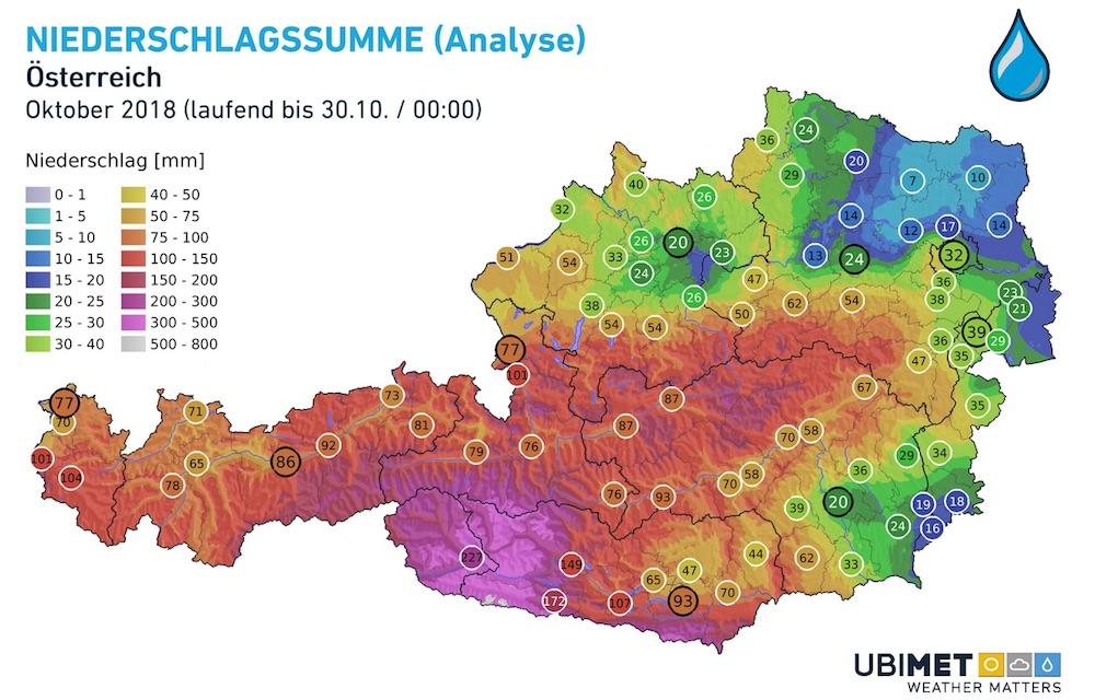 Niederschlagsanalyse Oktober 2018