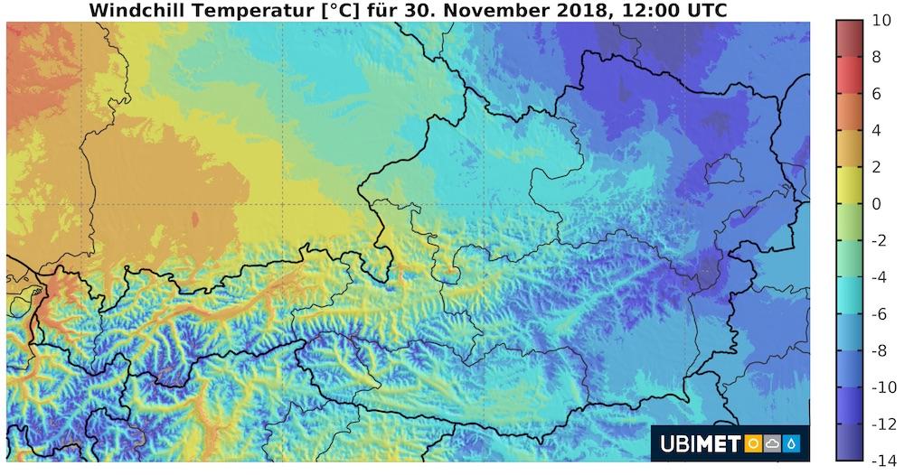 """Strenger Frost bis unter -15 Grad, eisiger Wind verschärft die Kälte Wien, 28.11.2018 – Mit Temperaturen teilweise im zweistelligen Minusbereich wird die kommende Nacht die kälteste des zu Ende gehenden Herbstes. In den kommenden Tagen geht es in der Osthälfte des Landes eisig weiter, der Wind sorgt hier für noch deutlich niedrigere gefühlte Temperaturen. Am Wochenende setzt sich vorerst nur langsam mildere Luft durch, nachhaltig milder wird es nach Angaben der Österreichischen Unwetterzentrale (www.uwz.at) dann nächste Woche. Klirrend kalte Nacht Die kommende Nacht wird die kälteste des diesjährigen Herbstes, bislang hält Galtür mit -12 Grad die Bestmarke. """"Praktisch alle Zutaten für eine eisige Nacht sind gegeben"""", weiß UBIMET-Chefmeteorologe Manfred Spatzierer zu berichten. """"Neben einer kalten Luftmasse und einem sternenklaren Himmel helfen auch die windschwachen Bedingungen und die lokal bereits vorhandene Schneedecke bei der Abkühlung kräftig mit."""" Die kältesten Regionen sind kommende Nacht in der Mitte des Landes zu finden. Im Mühl- und Waldviertel, in den Alpentälern Salzburgs und der Steiermark sowie in Oberkärnten gehen die Temperaturen auf -10 bis -15 Grad zurück. Im Lungau und im Aichfeld kann es sogar noch etwas kälter werden. Doch auch im Flachland kühlt es auf rund -5 Grad ab. Von den Novemberrekorden bleiben wir aber ein ganzes Stück entfernt. So liegen diese in Klagenfurt bei -17 Grad, in Innsbruck bei -15 Grad und in Wien bei -14 Grad. Den österreichweiten Novemberrekord hat St. Jakob im Defereggental inne, hier wurden 1975 schon einmal -27 Grad gemessen. Zwei windige und eisige Tage Zwar bringen die kommenden beiden Tage überwiegend ruhiges Wetter, vor allem im Osten und Südosten wird aber die schneidende Kälte zum Thema. Sowohl am Donnerstag als auch am Freitag weht nämlich in Niederösterreich, Wien und im Nordburgenland lebhafter bis kräftiger Südostwind. """"Dieser verschärft die Kälte und lässt die ohnehin schon eisigen -5 bis -1 Grad in diesen Re"""