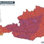 Lokal 100 l/m² – Ergiebiger Regen am Montag und Dienstag